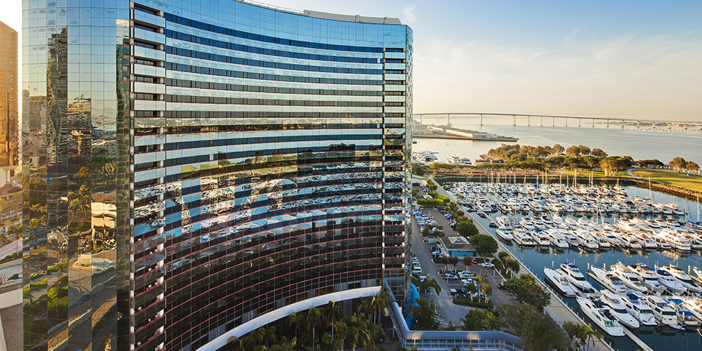 The San Diego Marquis and Marina gets a perfect view of Coronado Bay, and is situated next to all the action at the San Diego Convention Center. (Photo: Marriott)