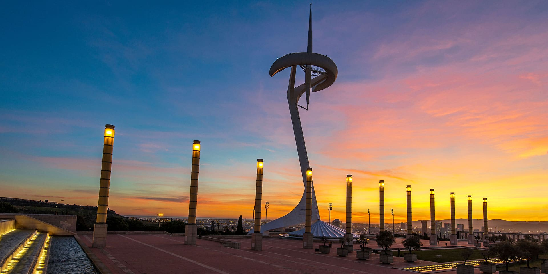 Sunset at Barcelona's Olympic Park.