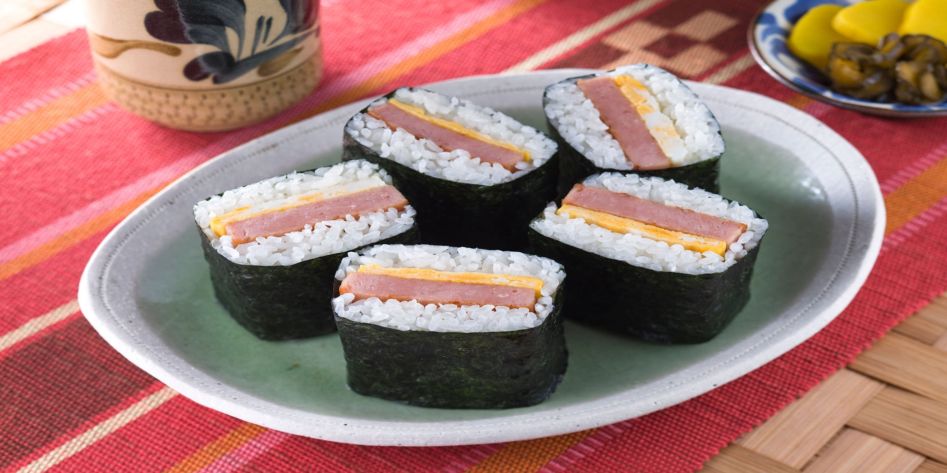 Hawaiian cuisine: Spam musubi.