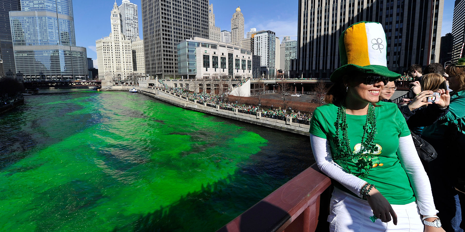 Chicago river goes green.